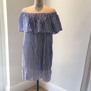 Striped dress off the shoulder